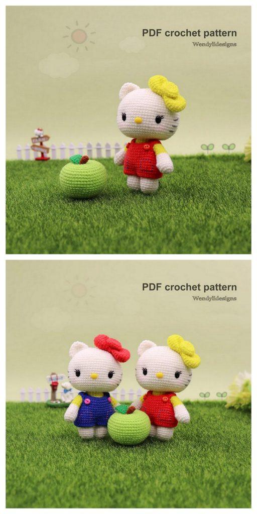 Crochet doll in Hello Kitty costume | Amigurumi | 1024x512